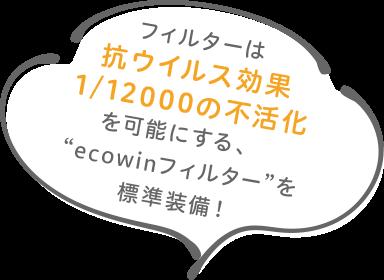 """フィルターは抗ウイルス効果1/12000の不活化を可能にする""""ecowinフィルター""""を標準装備!"""